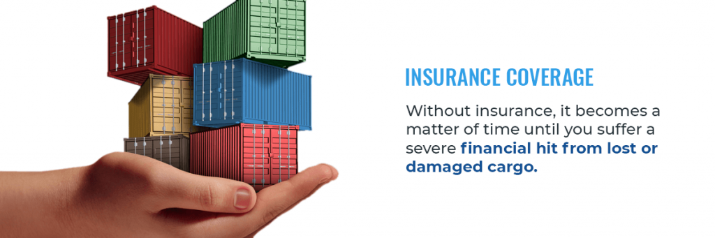 hand holding cargo containers and text about insurance coverage for cargo