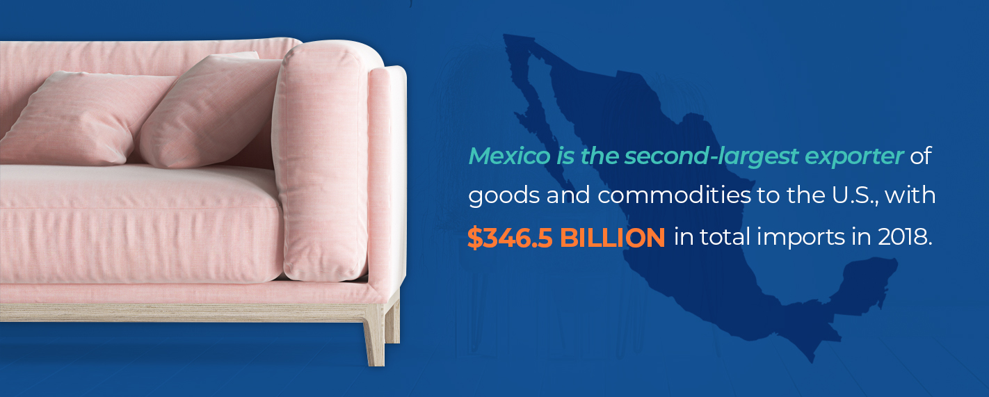 pink sofa with statistic of mexico exporting to the united states