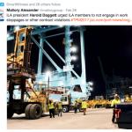 Mallory Alexander Tweet that Daggett Urges Against Strike