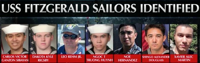 Sailors killed on USS Fitzgerald