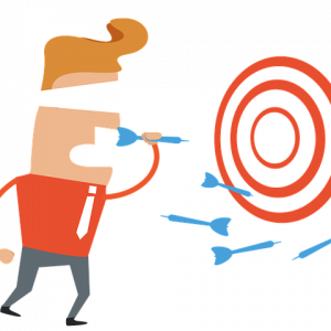 A drawing of a man wearing a blindfold and throwing darts at a board, symbolizing blind shipping