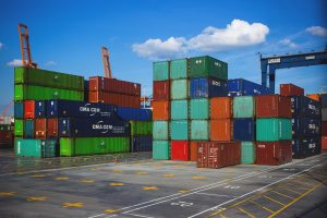 Shipping Containers at Port Importing Exporting
