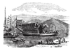 drawing sailing ships transporting goods