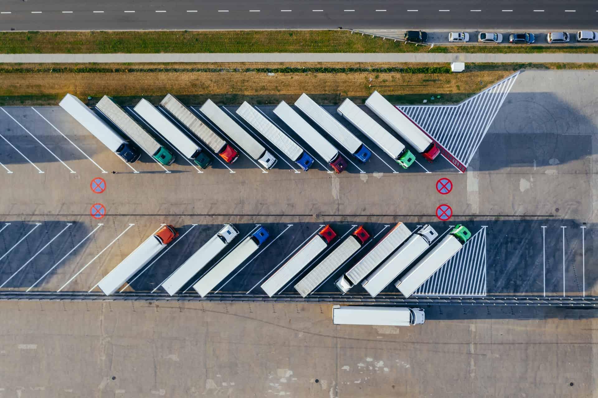 Bird's eye view of parked trucks