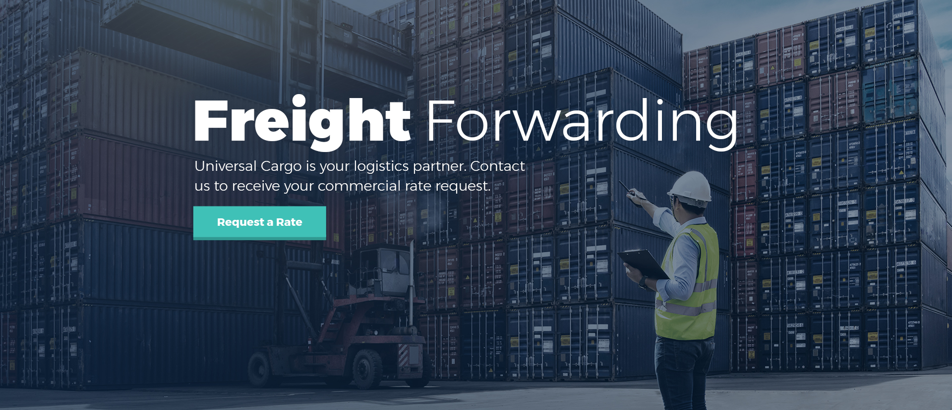 freight forwarding image of man looking at container cargo