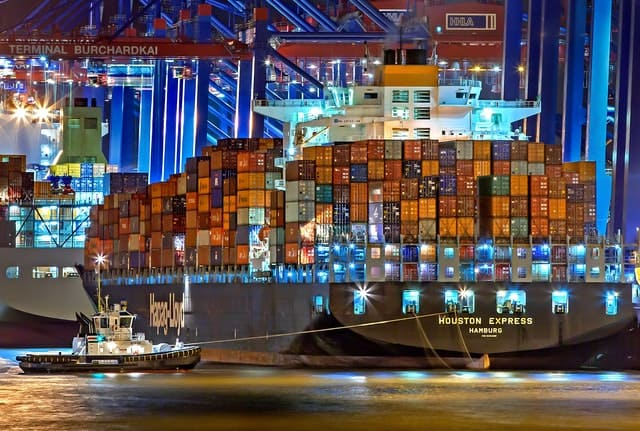 Large container ship.
