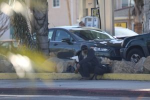 Gerardo Michael Juarez camped daily in front of USA Gasoline in Lawndale courtesy of the Daily Breeze.