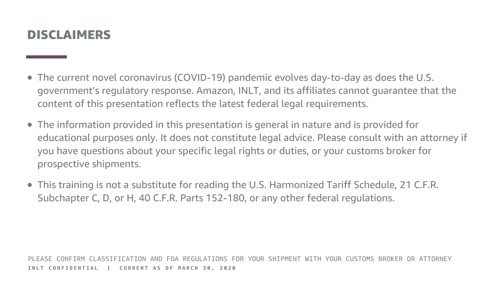 inlt pandemic supplies webinar disclaimers