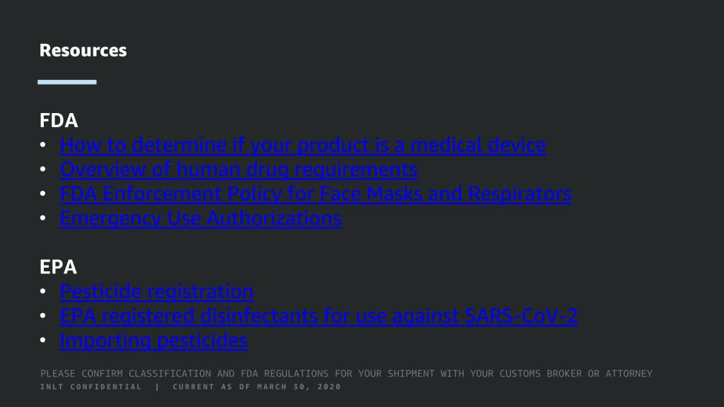 INLT Pandemic Supplies Webinar Resources