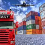 Truck, shipping containers, plane