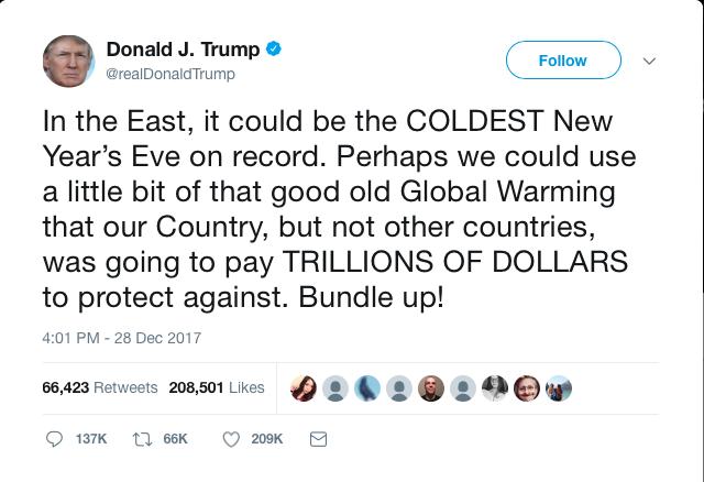 President Trump Global Warming Tweet