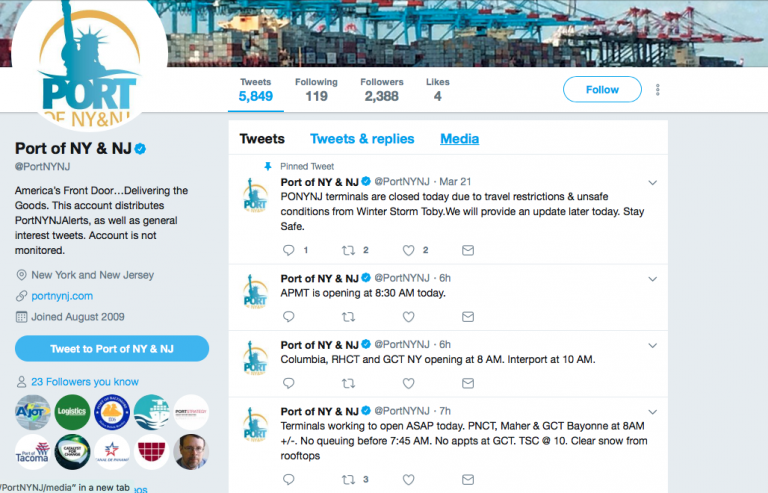 Port of NY-NJ Tweets about Snow Storm Closures
