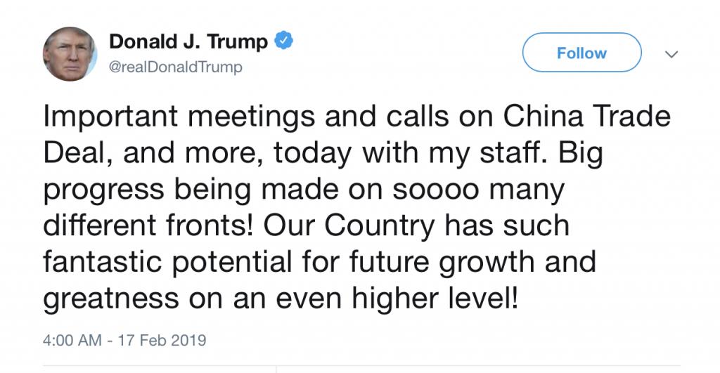 Trump China Trade Deal Tweet