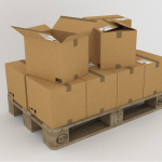 shipping boxes on pallet