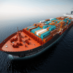 sleek container ship