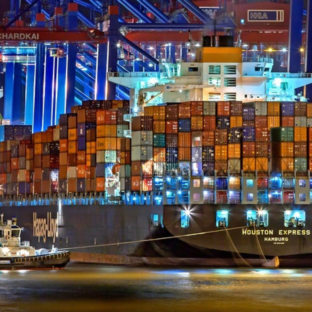 freight ships with plenty of containers